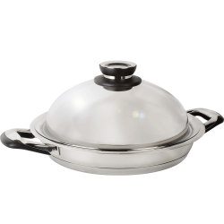 poele grill inox couvercle dome