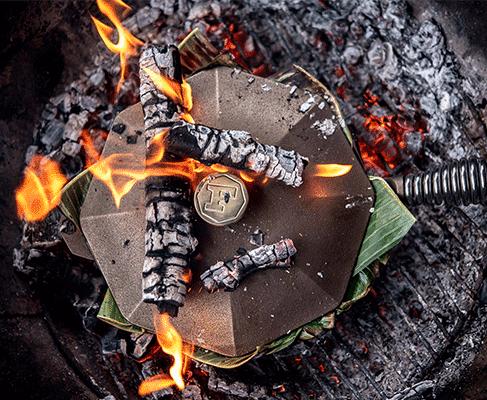 ustensile cuisson fonte feu de bois