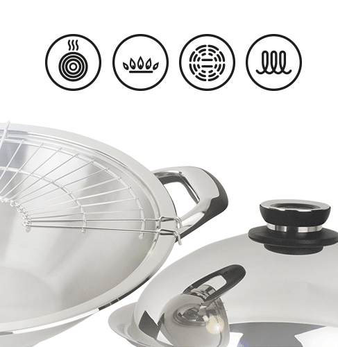 wok induction inox